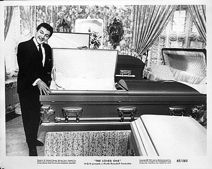 "Liberace as Mr. Starker the ""Casket Specialist"" in ""The Loved One."""