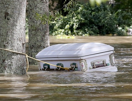 Via ABC News: Casket floating in Ascension Parish, Louisiana
